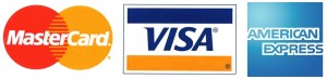 We accept Visa, Mastercard and Amex